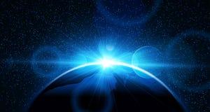 Planetjord med soluppgång vektor Royaltyfri Fotografi