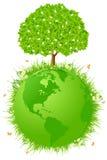 Planetjord med treen Royaltyfria Bilder