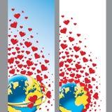 Planetjord med vigselringar och hjärtor. Vektor Stock Illustrationer