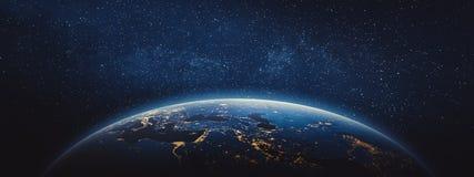 Planetjord - Mellanösten och Europa Arkivbild