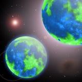 Planetjord och hennes tvilling- i det oändliga universumet Arkivbilder