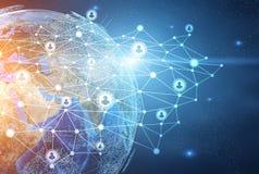 Planetjord- och nätverkssymboler royaltyfri illustrationer