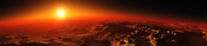 Planetjord på soluppgång från omlopp royaltyfri illustrationer