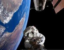 Planetjord på utrymmebakgrund Royaltyfri Bild