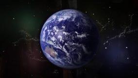 Planetjord roterar runt om dess omlopp, galaktiska klungor och stjärnor royaltyfri illustrationer