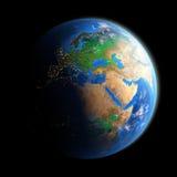 Planetjord som isoleras på svart Royaltyfri Bild