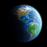 Planetjord som isoleras på svart Fotografering för Bildbyråer