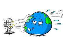 Planetjord som kylas av fanen royaltyfri illustrationer