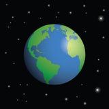 Planetjord som omges av stjärnor royaltyfri illustrationer