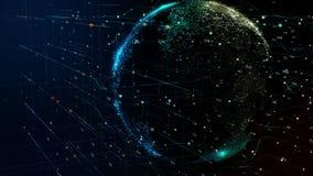 Planetjord som roterar i globalt futuristiskt cybernätverk stock illustrationer