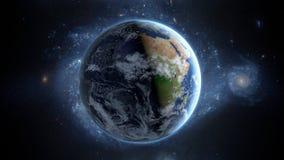 Planetjord som sett från utrymme Med stjärnabakgrund framförande 3d Arkivfoto