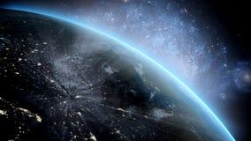 Planetjord som sett från utrymme Med stjärnabakgrund framförande 3d royaltyfri illustrationer