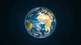 Planetjord som vänder långsamt i utrymme royaltyfri illustrationer