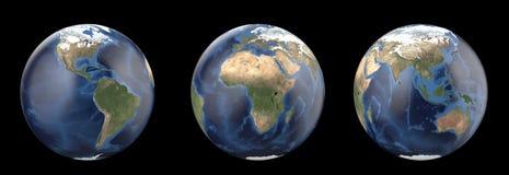 Planetjord utan moln Visning Amerika, Europa, Afrika, Asien, Australien kontinent royaltyfri illustrationer