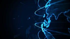 Planetjordanimering Roterande jordklot, glänsande kontinenter med betonade kanter Abstrakt cyberanimering av planetjord stock illustrationer
