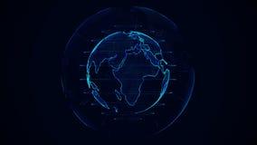 Planetjordanimering Roterande jordklot, glänsande kontinenter med betonade kanter Abstrakt cyberanimering av planetjord royaltyfri illustrationer