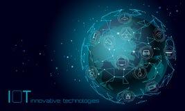 PlanetjordAsien återhållsam internet av begreppet för teknologi för sakersymbolsinnovation Trådlöst kommunikationsnätverk IOT vektor illustrationer