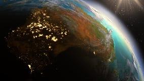 PlanetjordAustralien zon genom att använda NASA för satellit- bildspråk Arkivbilder