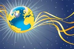 Planetjordflyg med guld- band. Utrymmesikt Royaltyfri Illustrationer