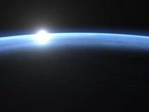 Planetjordhorisont med soluppgång i utrymme - 3D Arkivbild