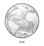 Planetjordillustration, teckning, gravyr, färgpulver, linje konst, vektor royaltyfri illustrationer