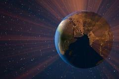 Planetjordljus i utrymme royaltyfri illustrationer