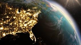 PlanetjordNordamerika zon genom att använda NASA för satellit- bildspråk Royaltyfria Bilder