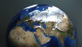 Planetjordsikten som visar Europa och Asien, 3d framför vektor illustrationer