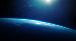 Planetjordsoluppgång från utrymme Arkivbilder