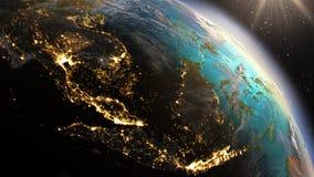 PlanetjordSouth East Asia zon genom att använda NASA för satellit- bildspråk Royaltyfri Foto
