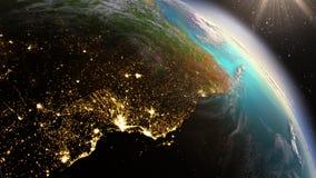 PlanetjordSydamerika zon genom att använda NASA för satellit- bildspråk Arkivfoton