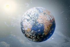 Planetland, sol och måne i yttre rymdar Arkivfoton