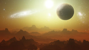 Planetry terrain with planets in the sky Stock Photography