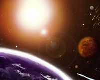 Planets against the background of the sun in the galaxy. royalty free illustration