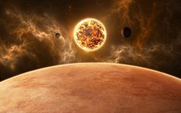 Planets around red dwarf star. New planetary system. 3d illustration Stock Photo