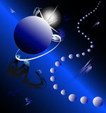 Planets background, Zodiac. Vector, fancy scene with planets, blue background, 3D, picture for DVD Stock Photo