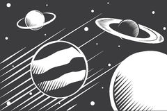 Planets. Black and white planet draw vector illustration