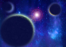 Planets into blue space Stock Image