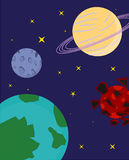 Planets. A cartoon visualisation of planets in the universe. Earth, Moon, Saturn, Mars Vector Illustration