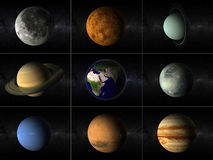 Planets collage. A collage of different planets of the solar system including moon and earth Royalty Free Stock Images