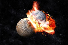 Planets collision. 3D render illustration royalty free illustration