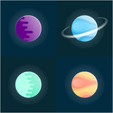 Planets colorful  set on dark background. Vector illustration. 10 eps Stock Photos
