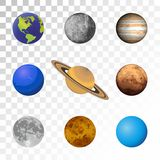 Planets colorful set on transparent background. Royalty Free Stock Images