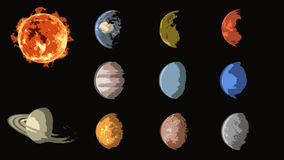 Planets comic collection, solar system Stock Image