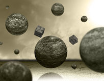 Planets and cubes Royalty Free Stock Photo