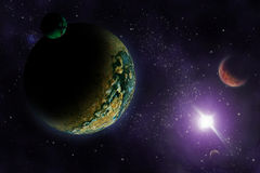 Planets in deep dark space. Royalty Free Stock Photos