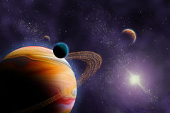 Planets in deep dark space. Stock Photos
