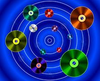 Planets of disks. The painting depicts a galaxy of music - planetary disks Vector Illustration