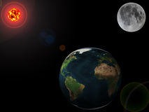 Planets - earth, moon and sun Royalty Free Stock Photos