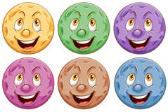 Planets with faces Stock Photography